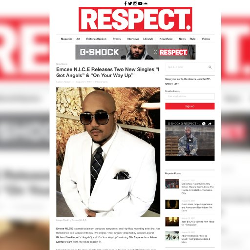 RESPECT Magazine on Emcee N.I.C.E.